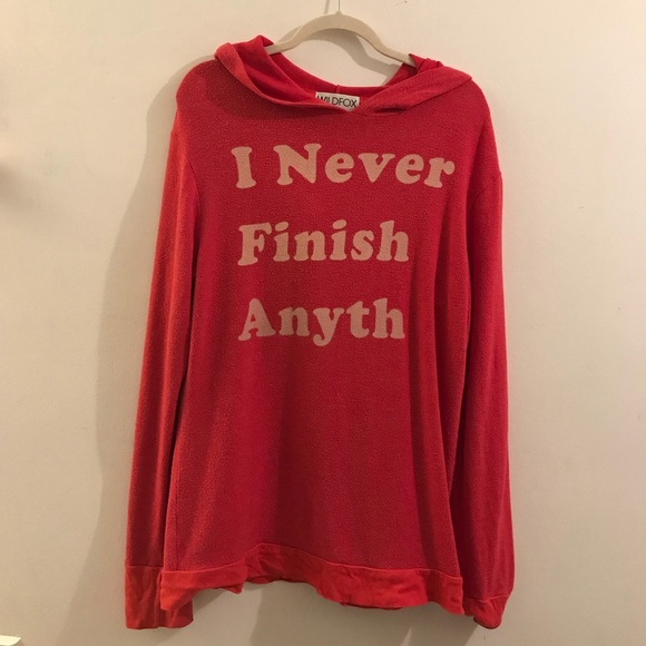 Wildfox Tops - RARE WILDFOX I NEVER FINISH ANYTHING HOODIE